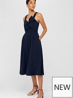 monsoon-alexa-bow-fit-and-flare-dress-navy