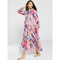 Tiered Button Through Maxi Dress   Print by V By Very