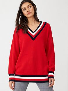 tommy-hilfiger-essential-tipping-v-neck-sweater-red