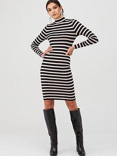 v-by-very-ribbed-high-neck-dress-stripe