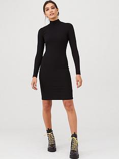 v-by-very-ribbed-high-neck-dress-black