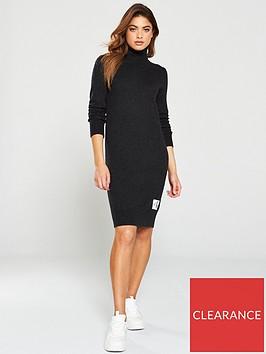 calvin-klein-jeans-monogram-sweater-dress-grey