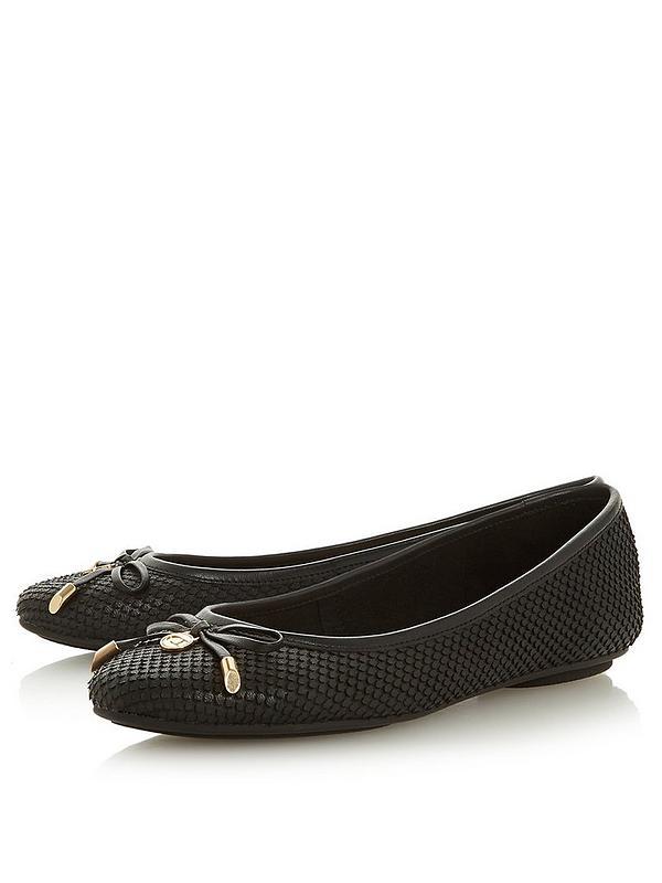 online store 3c002 b33af Harpar Bow Detail Ballerina Pumps - Black