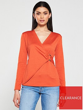 v-by-very-textured-wrap-top-orange
