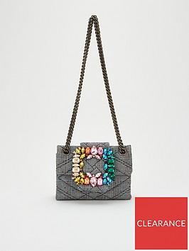 kurt-geiger-london-fabric-mini-mayfair-j-bag-black-grey