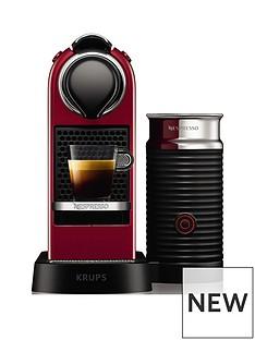Nespresso Nespresso by KrupsCitiZ& Milk XN761540 Pod Coffee Machine - Cherry Red