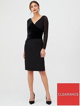 gina-bacconi-velvet-and-chiffon-long-sleeve-dress-black