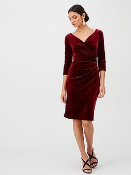 gina-bacconi-velvet-wrap-front-dress-wine