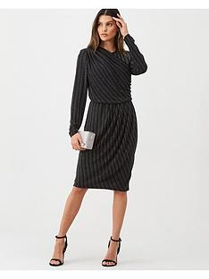 gina-bacconi-lurex-wrap-front-long-sleeve-dress-black