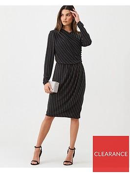 gina-bacconi-lurex-wrap-front-long-sleeve-dress-black