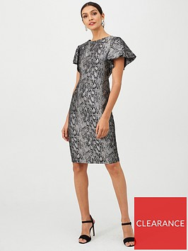 gina-bacconi-jacquard-snake-print-ruffle-cap-sleeve-dress-grey