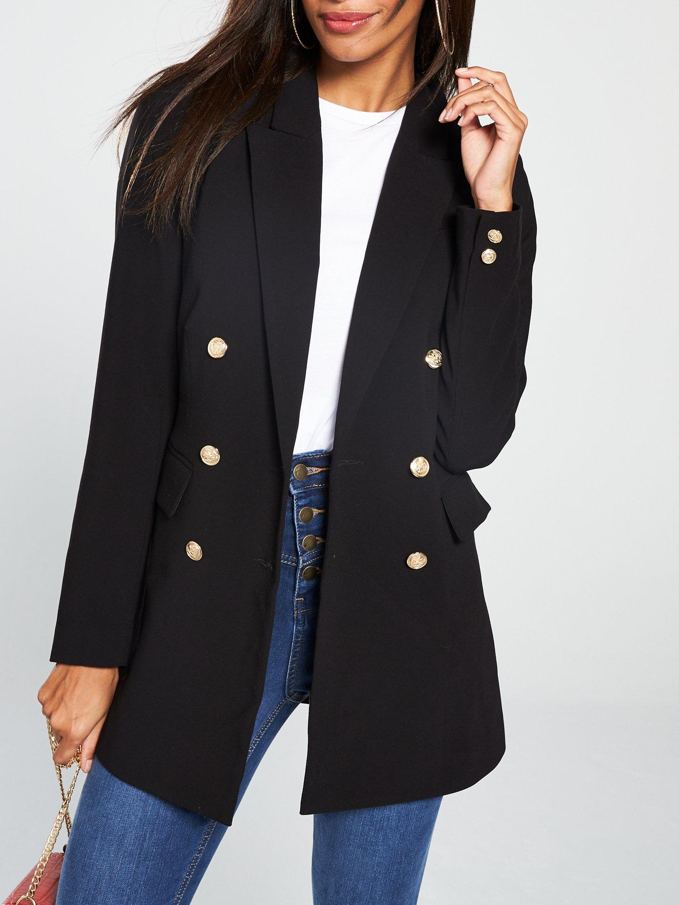 Michelle Keegan Black Double Breasted Military Blazer Jacket Coat 10 to 18 New