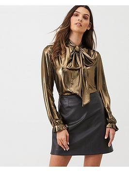 gina-bacconi-metallic-blouse-gold