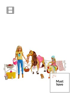 barbie-hugs-n-horsesnbspplayset-with-barbienbspand-chelseanbspblonde-dolls-2-horses-with-bobbling-heads-and-15-toy-accessories
