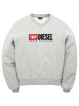 diesel-girls-ruched-sleeved-logo-sweat-grey