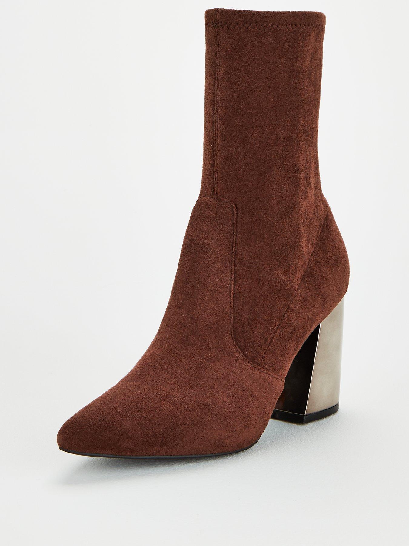 Heel Calf Sock Boots - Brown