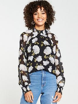 v-by-very-shirred-high-neck-blouse-black
