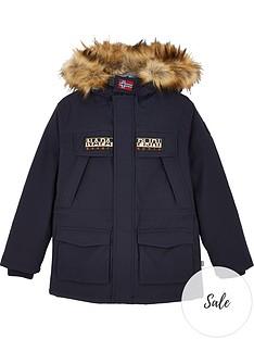 napapijri-boys-skidoo-faux-fur-hooded-parka-coat-navy