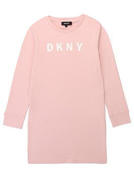 dkny-girls-long-sleeve-logo-dress-pink