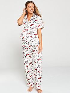 tommy-hilfiger-woven-shot-sleeve-pyjama-set-creamprint