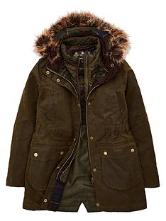 barbour-girls-thrunton-waxed-faux-fur-hooded-coat-olive