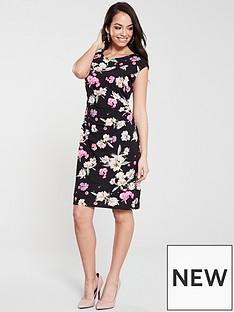 wallis-summer-petal-ruche-side-dress-black
