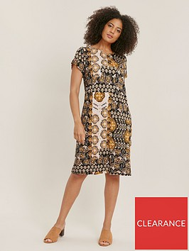 evans-ochre-printed-jersey-dress-multi