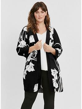 evans-mono-floral-print-kimono-black