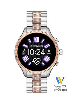michael kors michael kors lexington full display dial rose gold and pave detail stainless steel bracelet smart watch