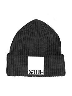 hugo-reverse-logo-knit-hat-black