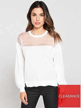 armani-exchange-mesh-jumper-cream