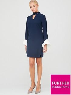armani-exchange-contrast-flare-sleeve-shift-dress-blueberry