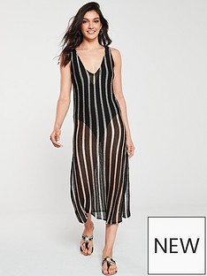 626bd36f79 River Island River Island Stripe Knitted Midi Beach Dress - Black