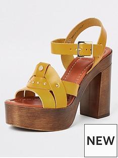river-island-river-island-leather-platform-sandals-mustard