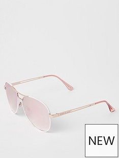 21bea98ab River Island River Island Silver Lens Aviator Sunglasses - White