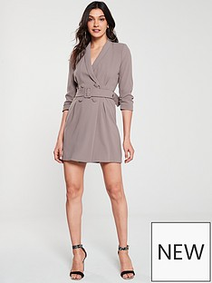 7be2aff393 River Island Belted Blazer Dress-beige