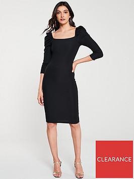 river-island-river-island-puff-sleeve-midi-dress-black