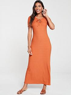 v-by-very-circle-trim-ribbed-dress-rust