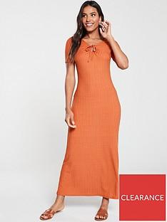 v-by-very-circle-trim-ribbed-dress-rust
