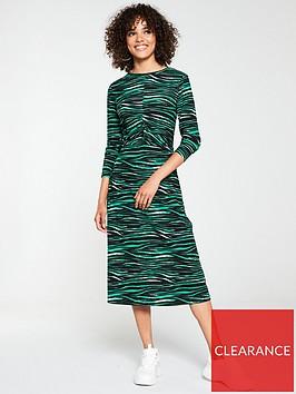 v-by-very-ruched-midi-animal-print-dress-green