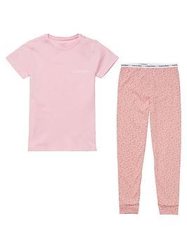 calvin-klein-girls-all-over-logo-short-sleeve-pyjama-set-pink