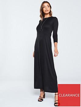 v-by-very-ribbed-jersey-maxi-dress-black