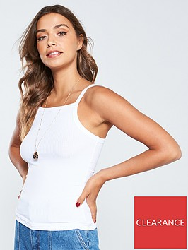 v-by-very-square-neck-ribbed-basic-vest-white