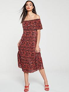 v-by-very-plissenbspbardotnbsptiered-dress-red
