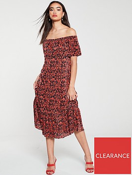 v-by-very-plissenbspbardotnbsptiered-dress-red