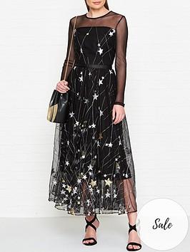 ukulele-princess-star-print-maxi-dress-black