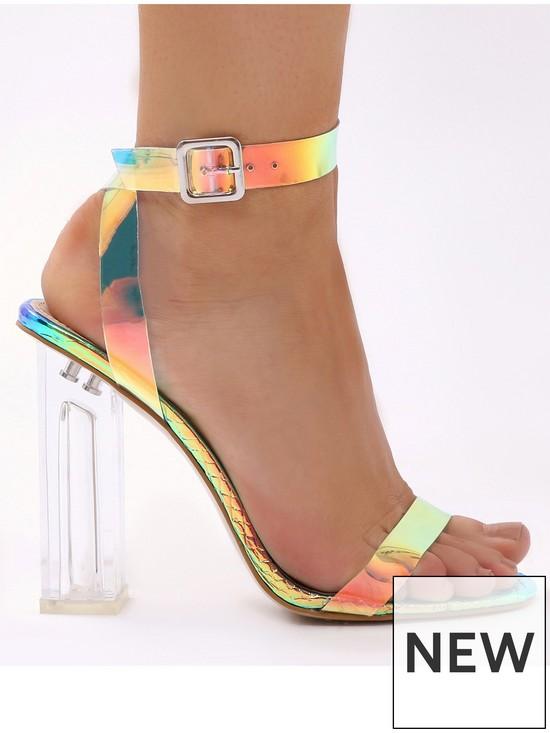 140eb3adecb Alia Clear Plastic Iridescent Heeled Sandals - Multi
