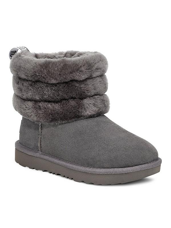 Girls grey ugg fluff mini quilted boots   schuh