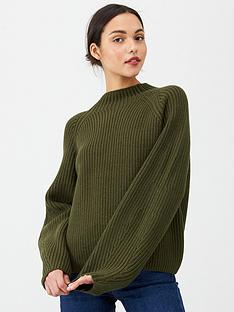 v-by-very-ribbed-grown-on-neck-jumper-khaki