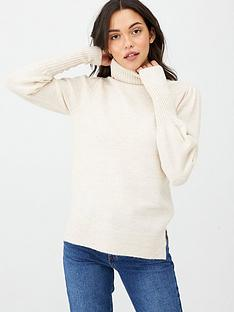 v-by-very-puff-sleeve-roll-neck-jumper-stone